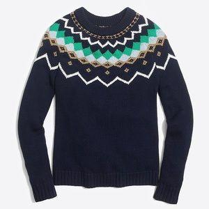 J. Crew Factory Lurex Fair Isle sweater